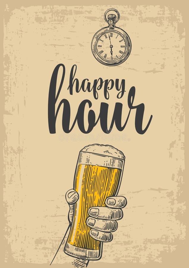 Mannelijke hand die een bierglas houden Uitstekende gravureillustratie voor etiket, affiche, menu op beige Achtergrond gelukkig royalty-vrije illustratie