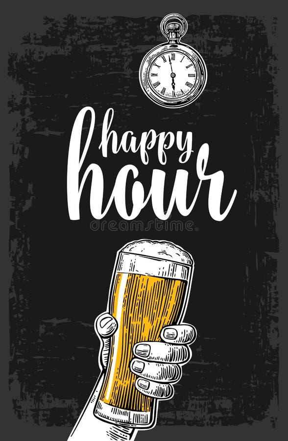 Mannelijke hand die een bierglas houden Uitstekende gravureillustratie voor etiket, affiche, menu Op donkere achtergrond gelukkig stock illustratie