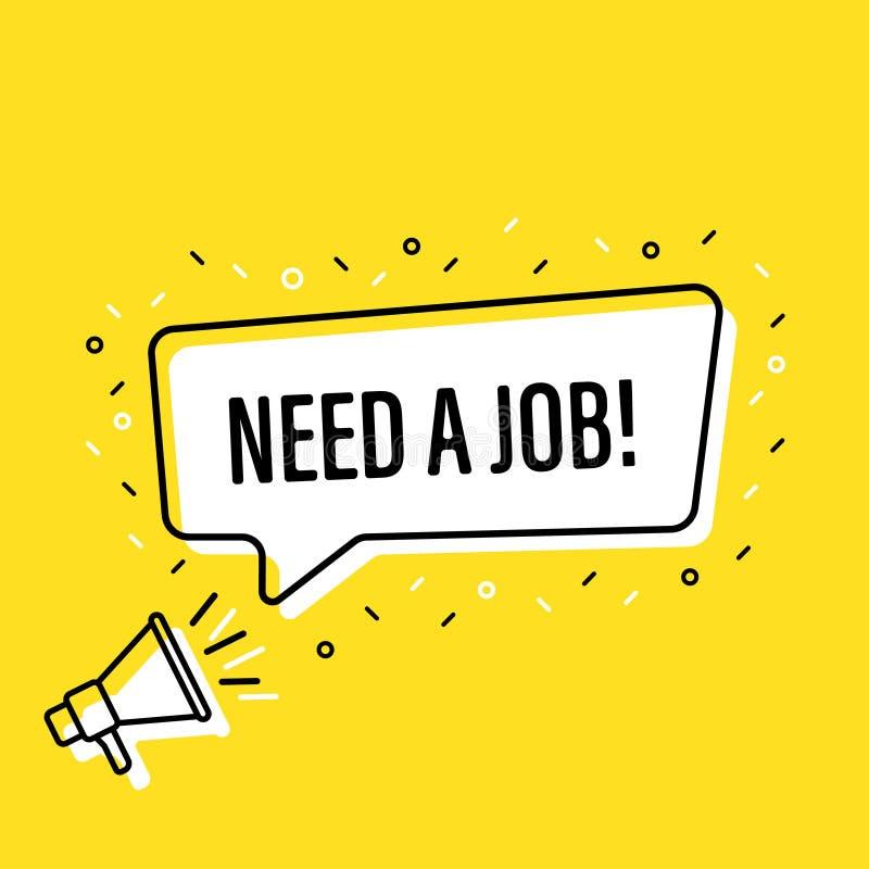 Mannelijke hand die megafoon vasthoudt en een 'job speech'-bubbel nodig heeft Luidspreker Banner voor zaken, marketing en reclame stock illustratie