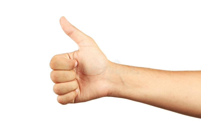 Mannelijke hand die o.k. gesturing royalty-vrije stock fotografie
