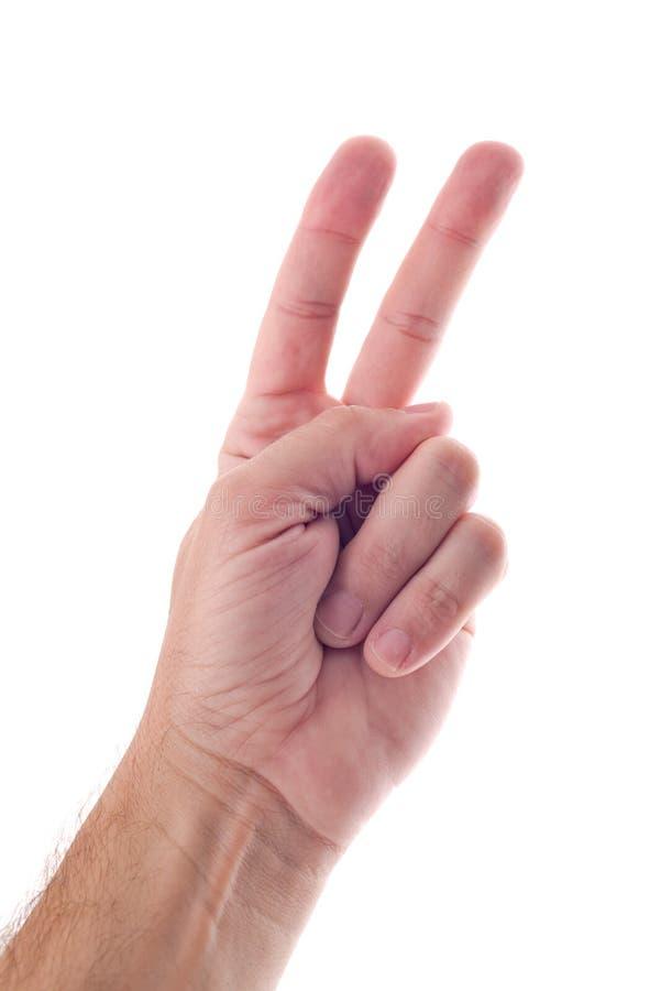 Mannelijke hand met twee vingers royalty-vrije stock foto's