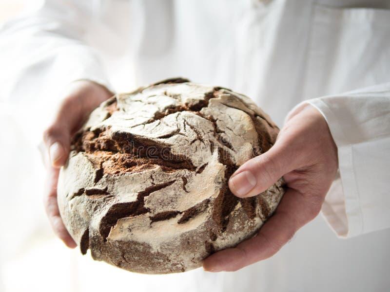 Mannelijke handen die vers gebakken om het brood van het land houden royalty-vrije stock fotografie