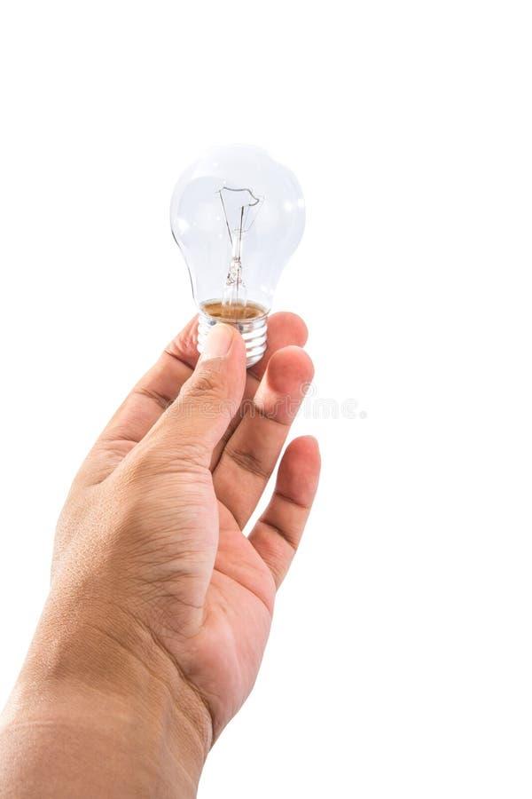 Mannelijke Handholding Lightbulb II royalty-vrije stock afbeelding