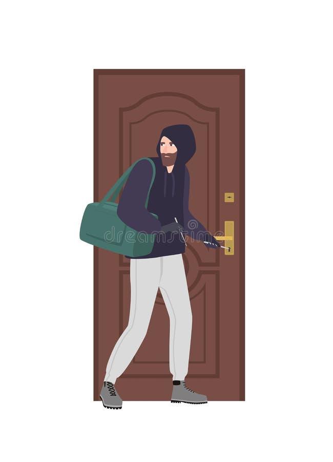Mannelijke inbreker die hoodie het proberen dragen om deur met slotoogst en onderbreking binnenshuis te openen Diefstal, inbraak  vector illustratie