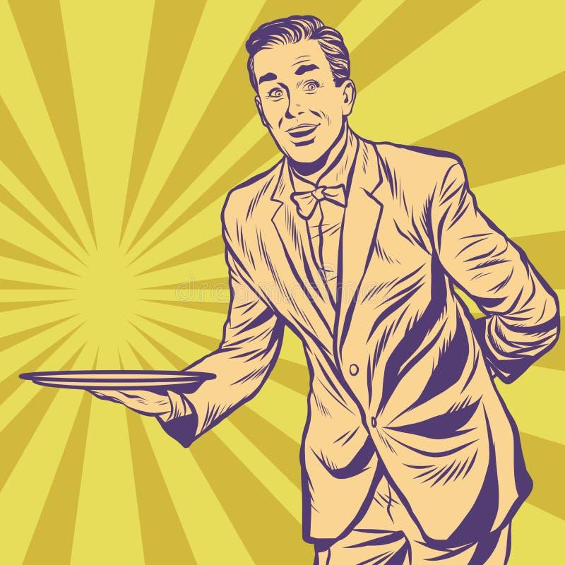 Mannelijke kelner met dienblad vector illustratie