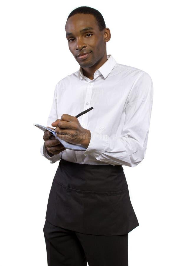 Mannelijke Kelner met Schort royalty-vrije stock afbeelding