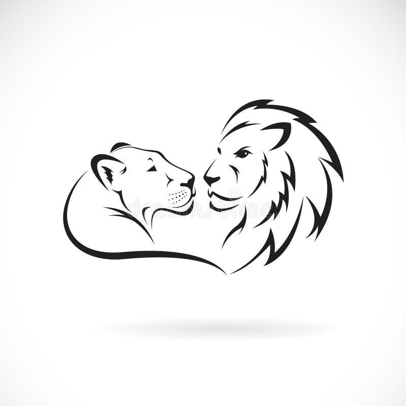 Mannelijke leeuw en vrouwelijk leeuwontwerp op witte achtergrond Wilde dieren Leeuwembleem of pictogram Gemakkelijke editable gel royalty-vrije illustratie