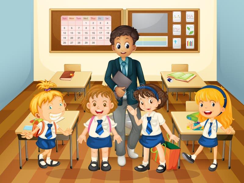 Mannelijke leraar en studenten in klasse vector illustratie
