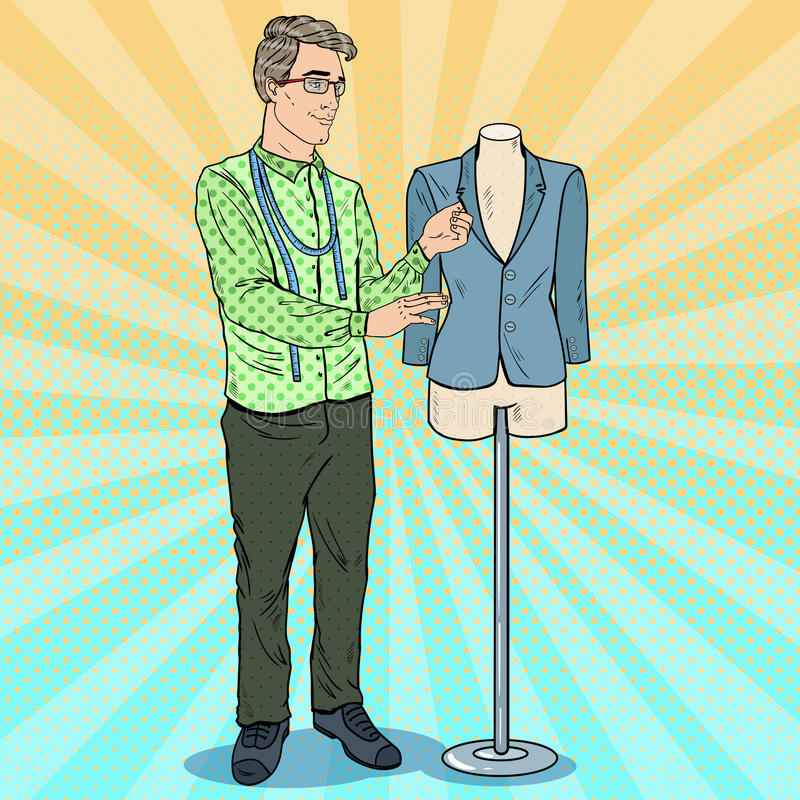 Mannelijke Manierontwerper aan het Werk met Ledenpop De textiel industrie Pop-art retro illustratie royalty-vrije illustratie