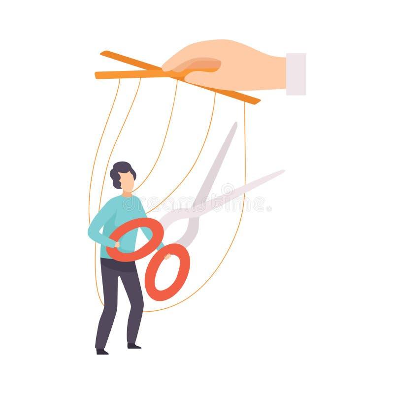 Mannelijke Marionet op met de hand Gecontroleerde Kabels, Mens die Kabels met Schaar, Manipulatie van Mensenconcept proberen te b stock illustratie