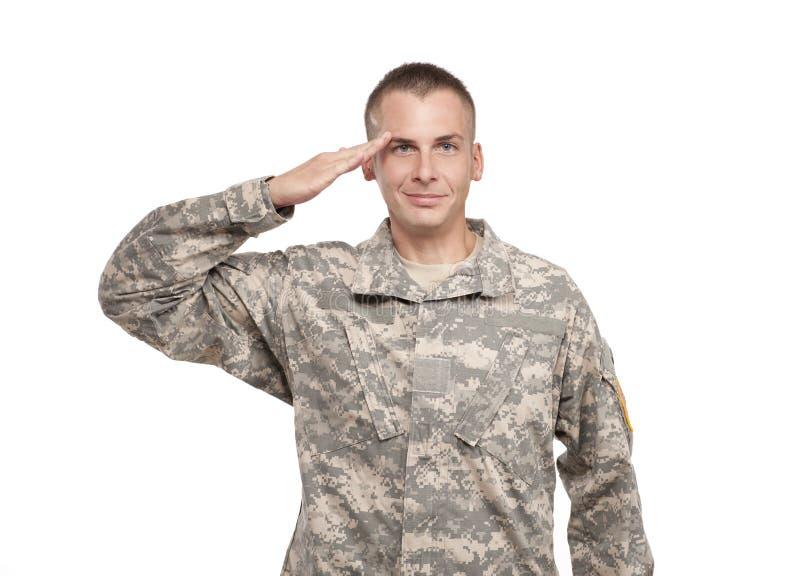 Het groeten van de militair stock fotografie