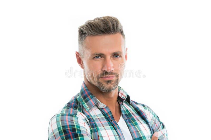 Mannelijke natuurlijke schoonheid Behandel grijze wortels Mensen aantrekkelijk goed verzorgd gezichtshaar Barber Shop Concept Gri stock foto's