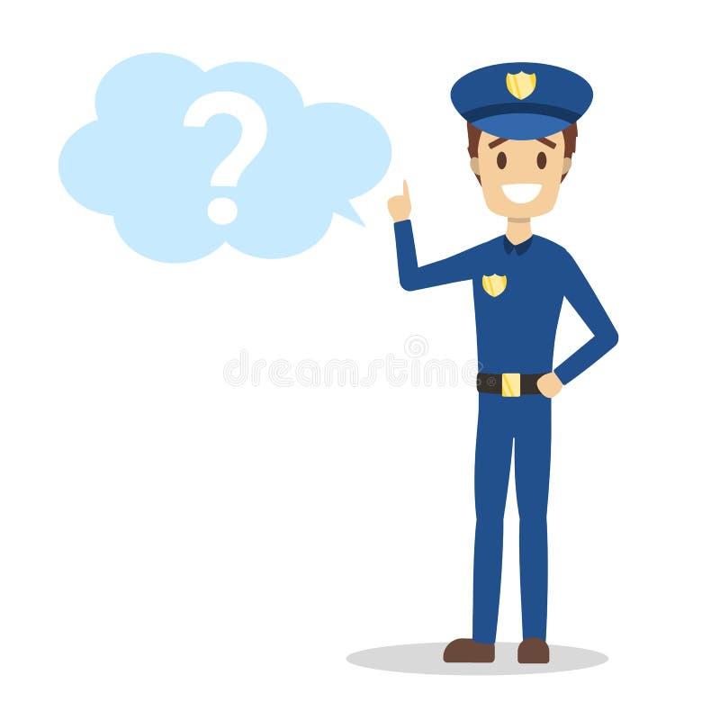 Mannelijke politieagent die zich bij het vraagteken bevinden vector illustratie