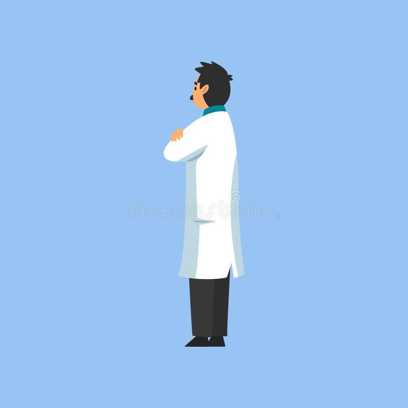 Mannelijke Professionele Arts Character, Arbeider van Medische Kliniek of het Ziekenhuis in Witte Laboratoriumlaag, Achterweergev stock illustratie