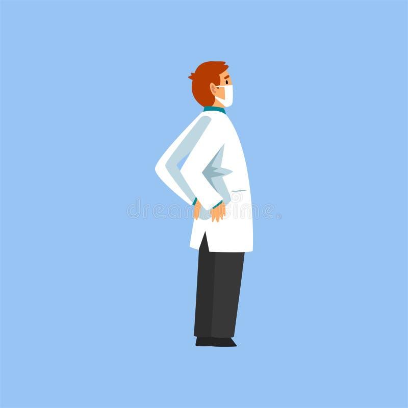 Mannelijke Professionele Arts Character, Arbeider van Medische Kliniek of het Ziekenhuis in Witte Laboratoriumlaag en Masker Vect vector illustratie