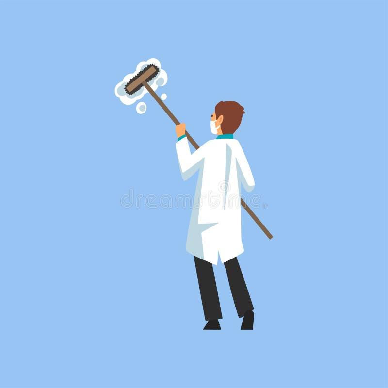 Mannelijke Professionele Arts Character Cleaning met Zwabber en Schuim, Tandarts Working in Medische Kliniek of het Ziekenhuis in vector illustratie