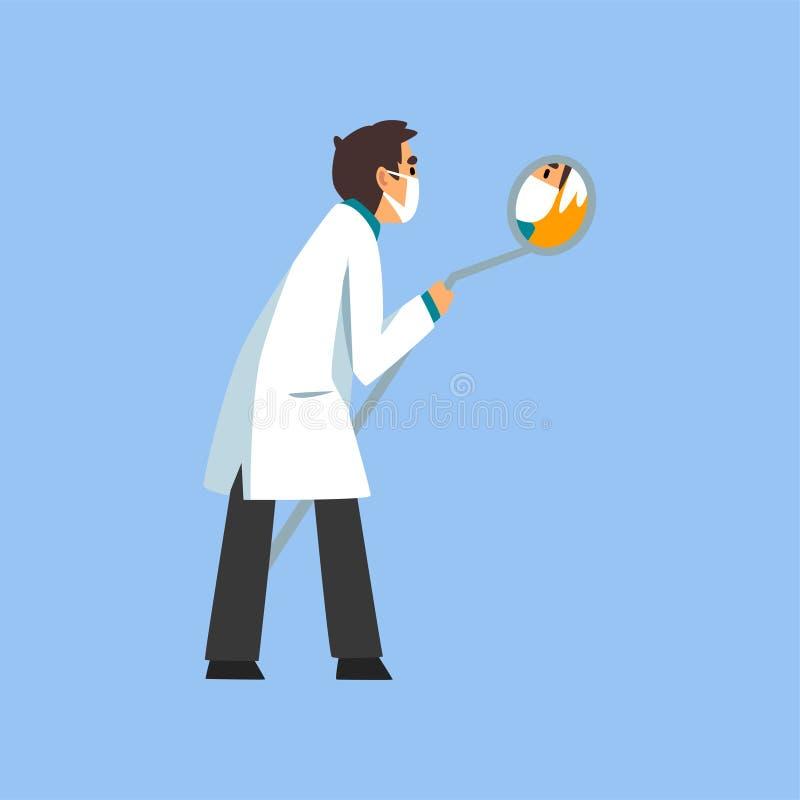 Mannelijke Professionele Arts Character met Tandspiegel, Tandarts van Medische Kliniek of het Ziekenhuis in Wit Laboratoriumlaag  vector illustratie