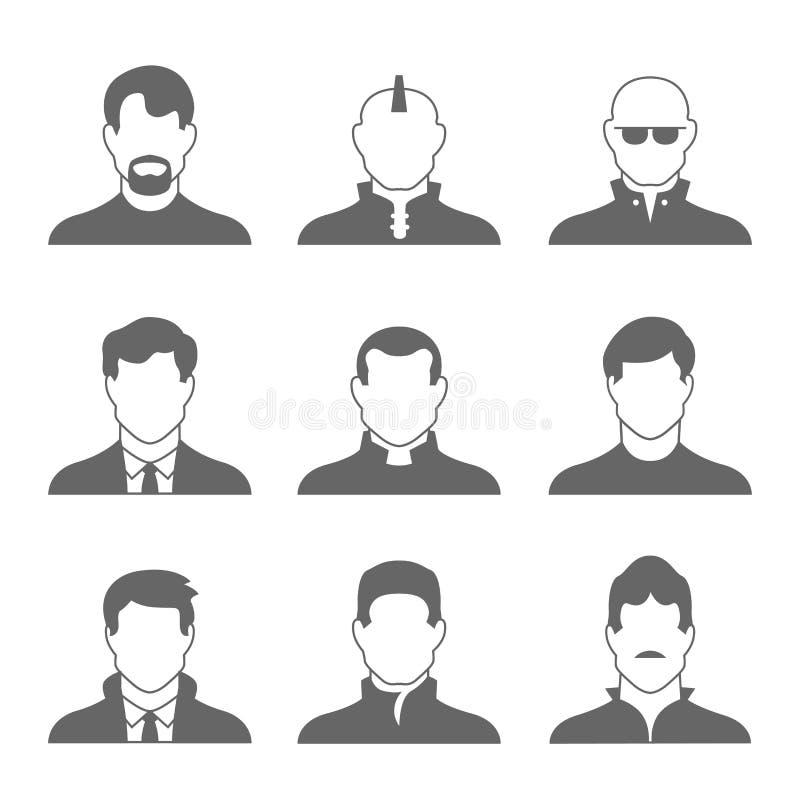 Mannelijke Profielpictogrammen royalty-vrije illustratie