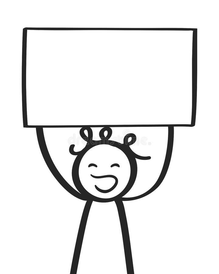 Mannelijke protesteerder, mens die aanplakbord, de jongen van het stokcijfer het gillen steunen royalty-vrije illustratie