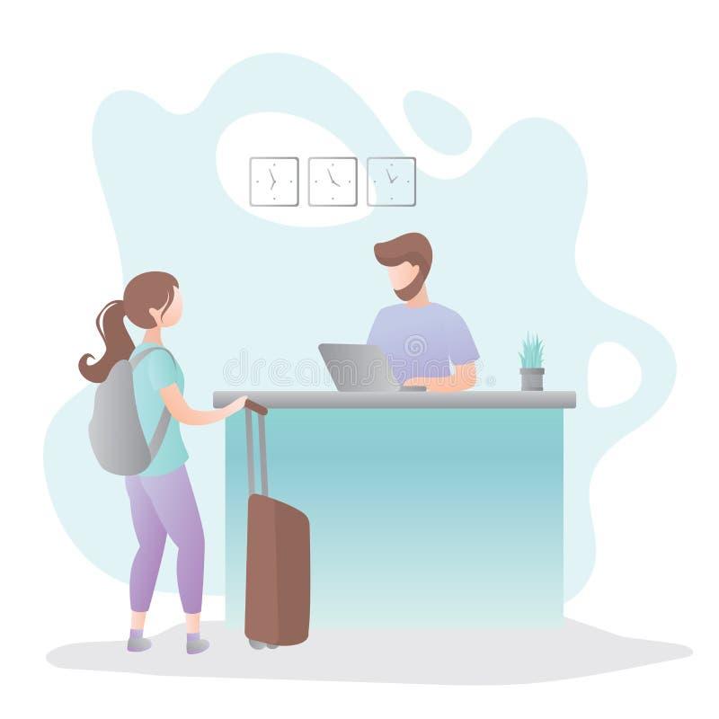 Mannelijke receptionnist op de receptiebalie in hotel en vrouwelijke toerist met koffer en rugzak royalty-vrije illustratie