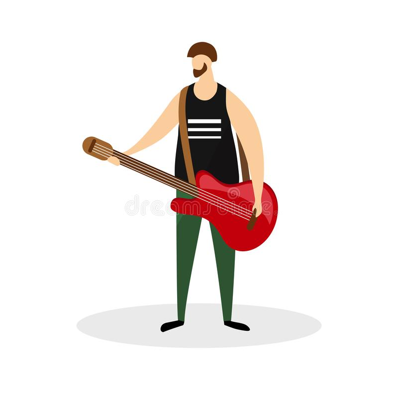 Mannelijke Rotsmusicus Character, Gitarist, Virtuoos stock illustratie