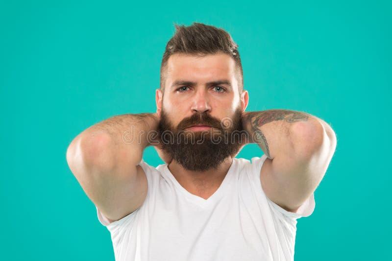 Mannelijke schoonheid Kapperssalon Baardmanier en kappersconcept De modieuze baard turkooise achtergrond van mensen gebaarde hips royalty-vrije stock afbeeldingen