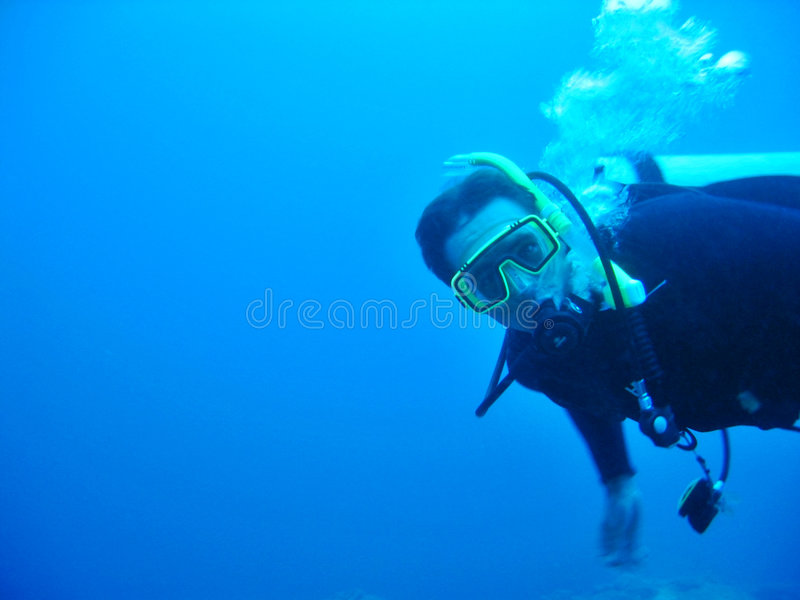 Mannelijke Scuba-duiker stock foto's