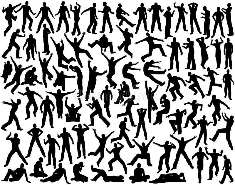 Mannelijke silhouetten stock illustratie