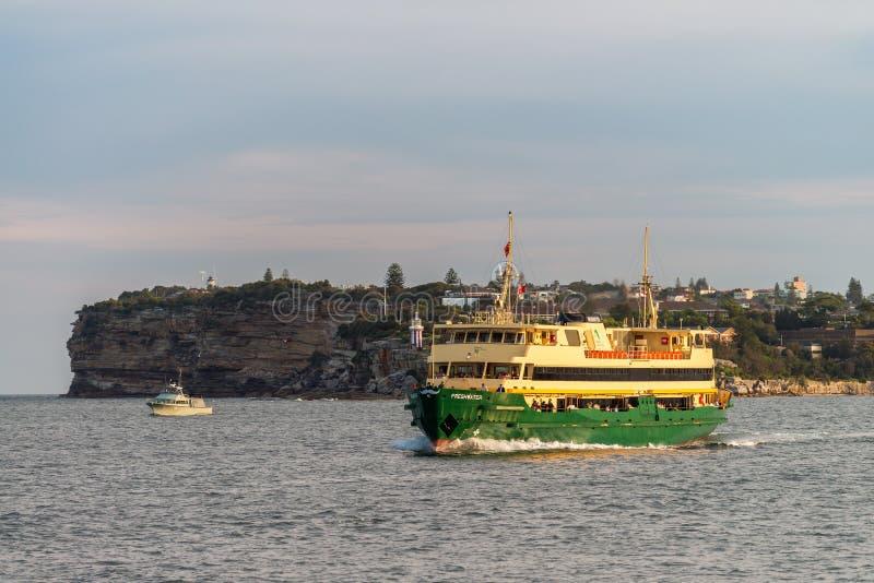 Mannelijke Snelle Veerboot bij zonsondergang stock foto