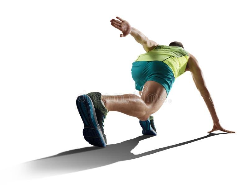 Mannelijke sprinter die op geïsoleerde achtergrond lopen royalty-vrije stock afbeelding