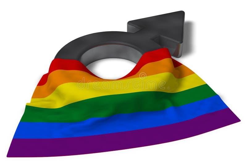 Mannelijke symbool en regenboogvlag stock illustratie