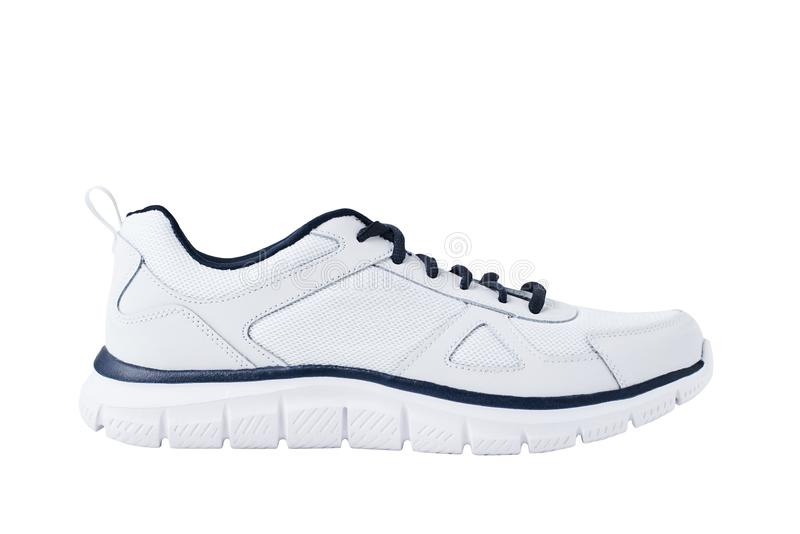 Mannelijke tennisschoenen één op een witte geïsoleerde achtergrond Dichte omhooggaand van de sportschoen royalty-vrije stock afbeelding