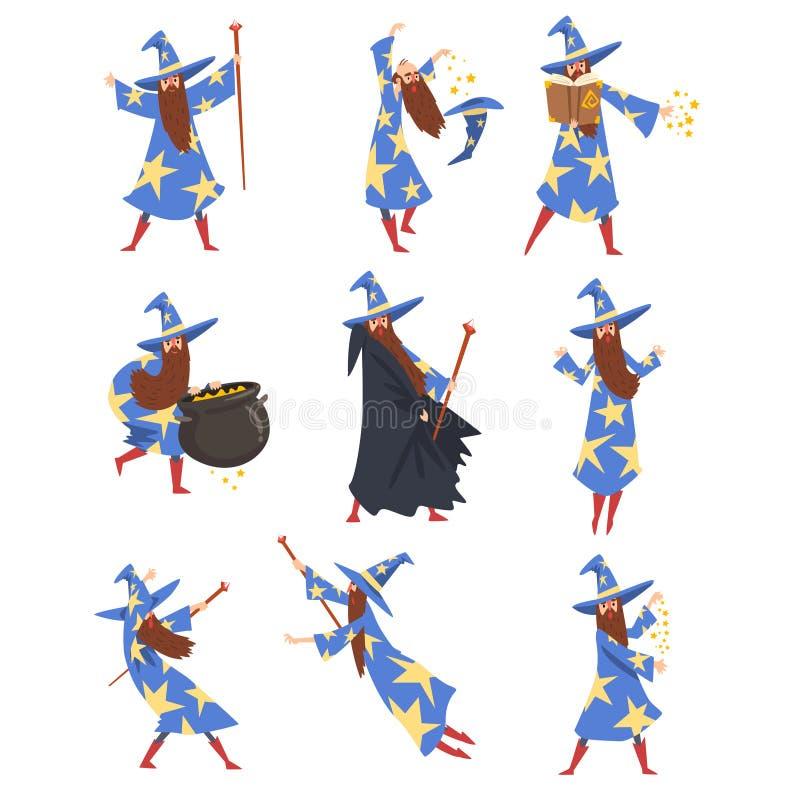 Mannelijke Tovenaar het Praktizeren Tovenarijreeks, Tovenaarskarakter die Blauwe Mantel met Sterren en Gerichte Hoedenvector drag royalty-vrije illustratie