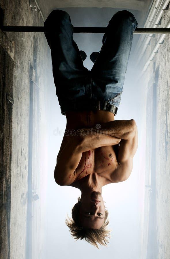 Mannelijke vampier hangende bovenkant - neer stock afbeeldingen