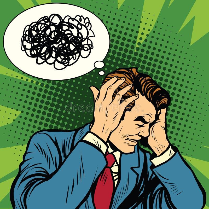 Mannelijke verwarde hoofdpijn stock illustratie