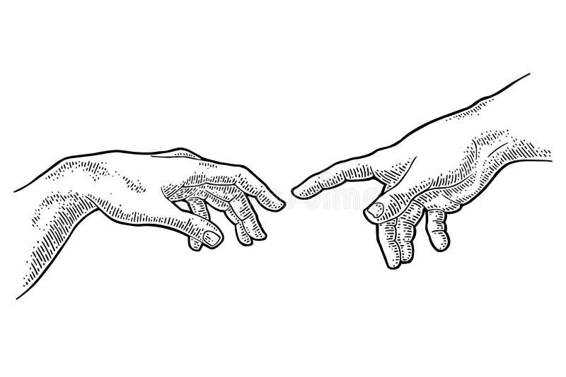 Mannelijke vinger die de hand van de aanrakingsgod richten De verwezenlijking van Adam stock illustratie