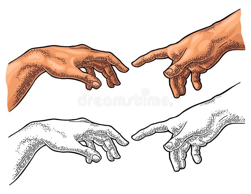 Mannelijke vinger die de hand van de aanrakingsgod richten De verwezenlijking van Adam royalty-vrije illustratie