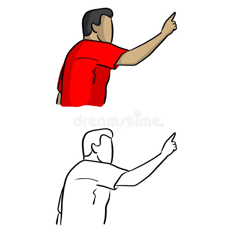 Mannelijke voetballer die aan de juiste vectorillustratie richten ske royalty-vrije illustratie