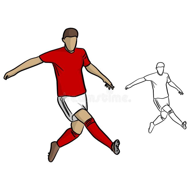 Mannelijke voetballer met het rode spelen van Jersey in spelvector illust vector illustratie
