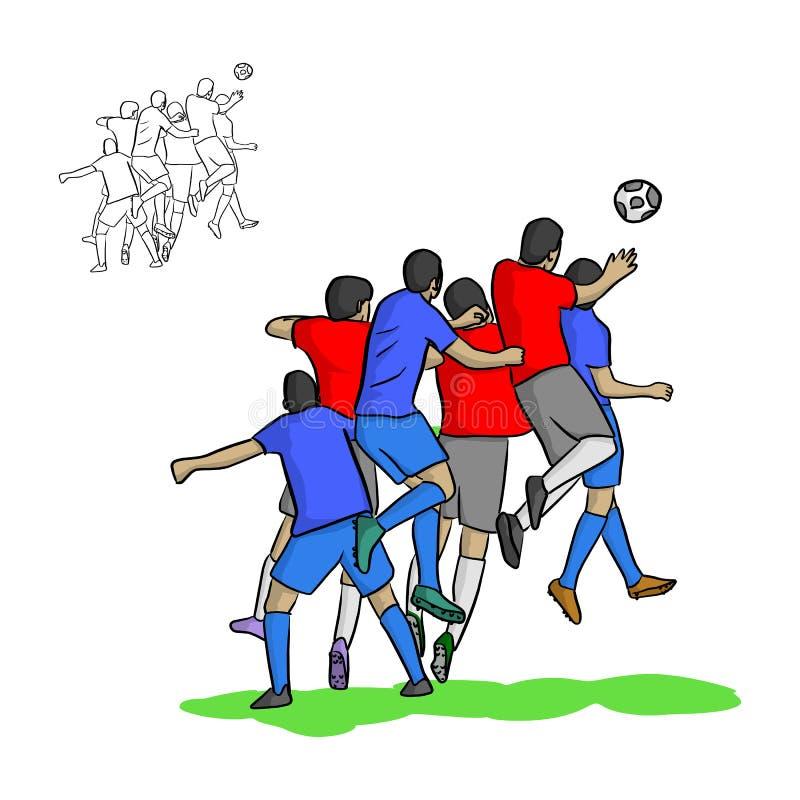 Mannelijke voetballers die een bal in lucht vectorillustratio leiden vector illustratie