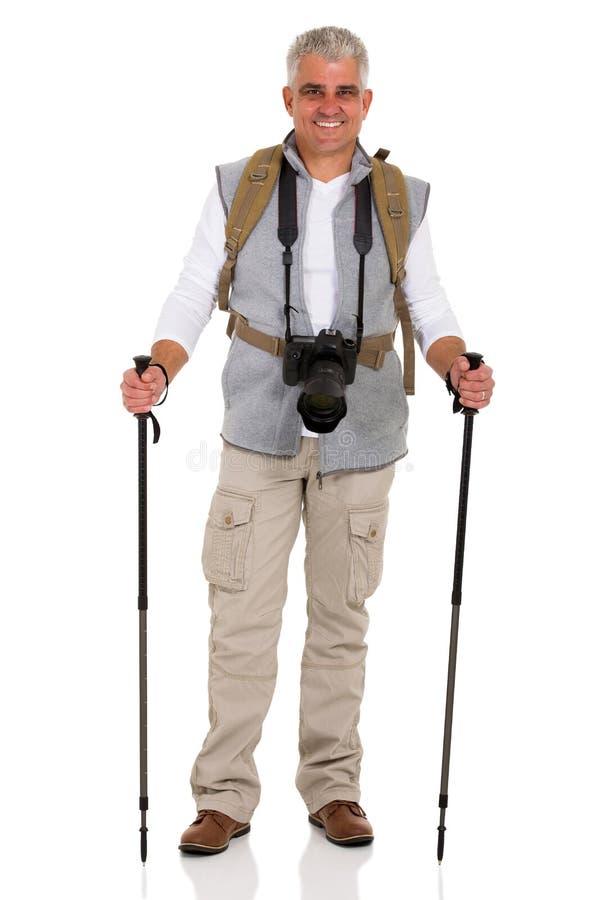 Mannelijke wandelaar met camera stock fotografie