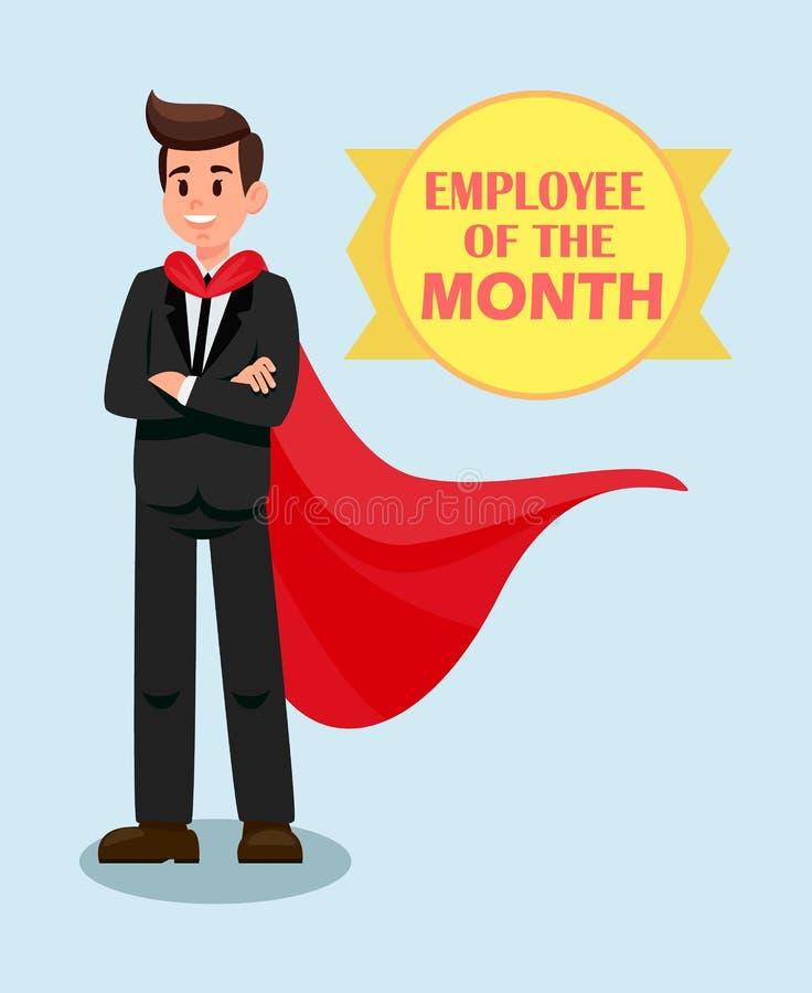 Mannelijke Werkgever in Rode Kaap Vlakke Vectorillustratie stock illustratie