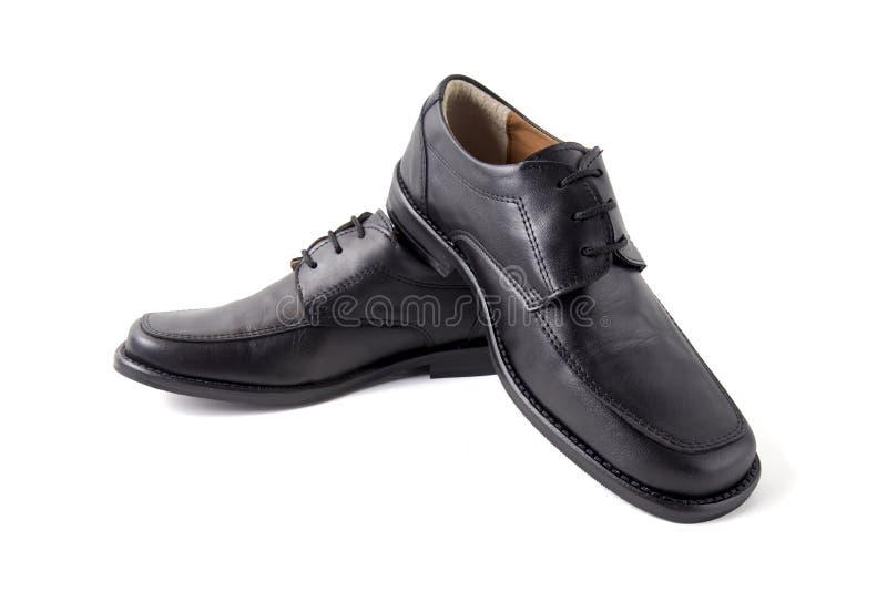 Mannelijke Zwarte Schoen op Witte Achtergrond, Geïsoleerd Product royalty-vrije stock fotografie