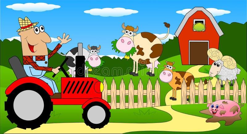Mannen är en bonde på en traktor och kor på ängen royaltyfri illustrationer