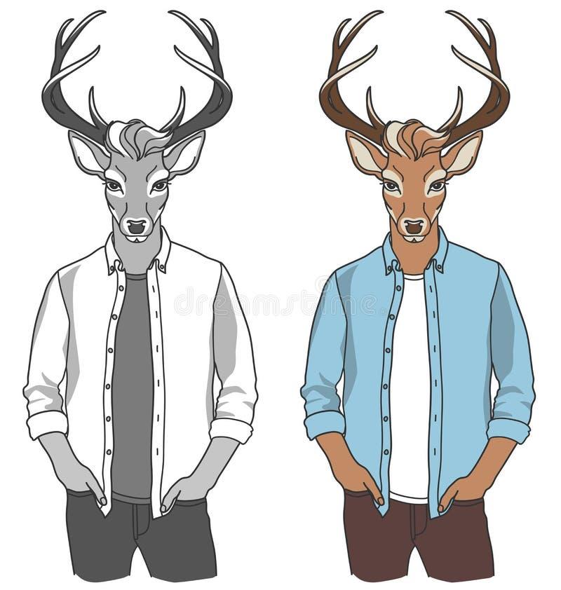 Mannen ?r en hjort royaltyfri illustrationer