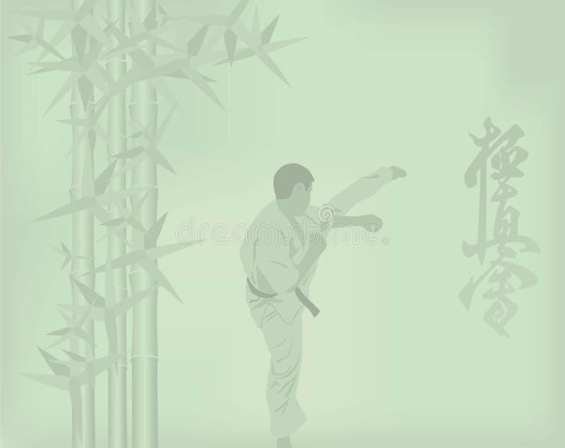 Mannen är förlovad i karate på en grön backgr royaltyfri illustrationer