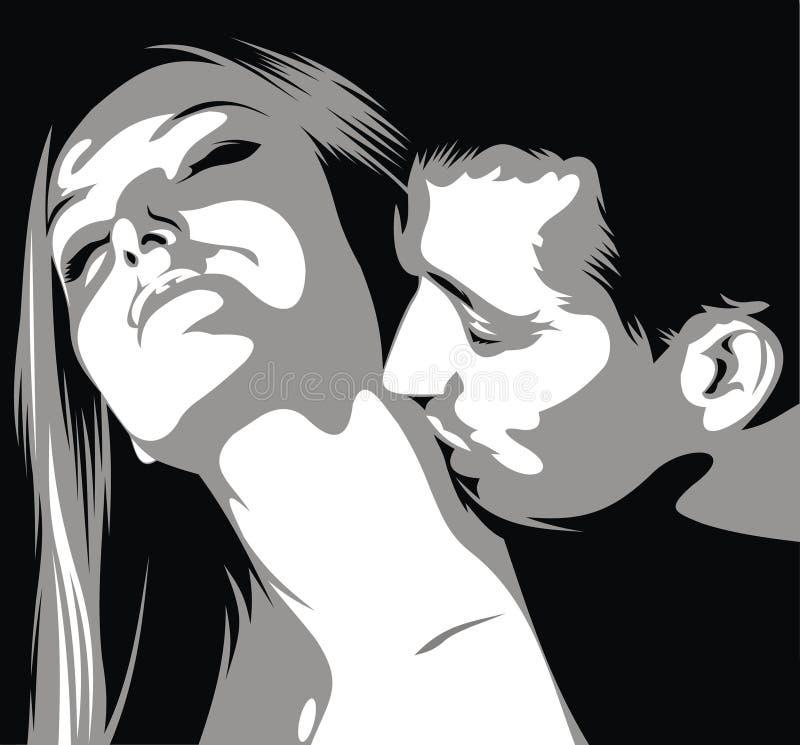 Mannen är kissinigkvinnan på hennes hals vektor illustrationer