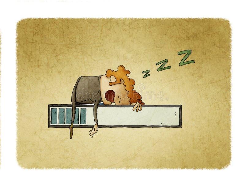 Mannen ?r sovande ?verst av en framstegst?ng stock illustrationer