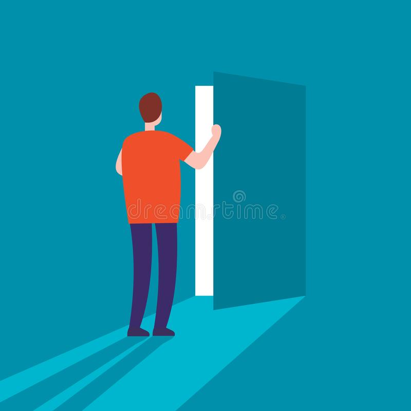 Mannen öppnar dörrvektorbegreppet arkivbild