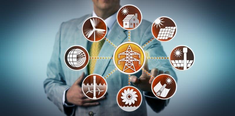 Mannen aktiverar den förnybara Electric Power utvecklingen arkivbild